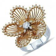 14k Rose White Gold Pave Diamond Flower Floral Statement Cocktail Ring
