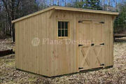 7and039 X 12and039 Modern Storage / Lean-to Garden Shed Plans Design 80712