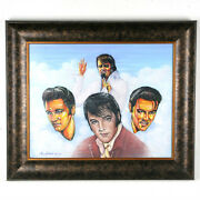 Untitled 5 Images Of Elvis Presley By Anthony Sidoni 2005 Signed Oil Painting