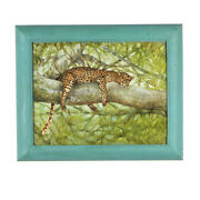 Nap Time Cheetah Resting In Tree By Anthony Sidoni Oil Painting 14x17
