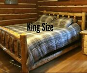 Log Bed Beautiful And Sturdy Half Log Side Rails With Mattress Beams Rustic