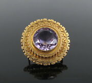 Antique 10ct Old Cut Amethyst And 14k Gold Hand Made Decorated Brooch