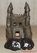 "Vintage Hand Made Pottery Clay Castle Sculpture Figurine 7.25"" T x 5.25"" x 4.75"""
