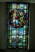 + Nice Older Figural Stained Glass Window 9 + Baptism Of Jesus + 48 X 24 +