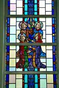 + Nice Figural Stained Glass Window 15and039 Tall X 4and039-6w. 9 Of 12 + Chalice Co.