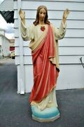+ Antique Wood Carved Statue The Sacred Heart Of Jesus + 5and039 Tall +