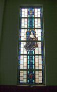 + Nice Figural Stained Glass Window 15and039 Tall X 4and039-6w. 1 Of 12 + Chalice Co.