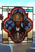 + Nice Older Stained Glass Window Of St. Augustine Bishop + Chalice Co. +
