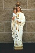 + Older Statue Of Mary + Our Lady Of Mercy + Mt. Carmel + 28 Tall + Chalice Co.