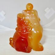2.7 Chinese Carved Orange Carnelian Agate Foo Dog Or Temple Lion Snuff Bottle