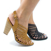 Hills Strappy Huarache Gladiator Sandal - Womens Sling Black Stacked Heel Shoes