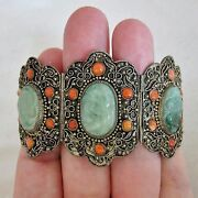 Antique Chinese Metal Bracelet With Coral And 3 Green Jadeite Jade 6.5 Long