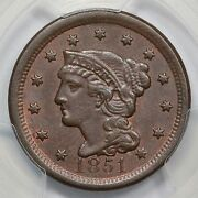 1851 N-40 R-5 Pcgs Ms 62 Cc4 Braided Hair Large Cent Coin 1c Ex Twin Leaf