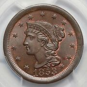 1853 N-28 Pcgs Ms 65 Bn M-lds Braided Hair Large Cent Coin 1c Ex Twin Leaf