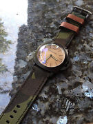 Handmade Camo Canvas Leather Watch Strap Free Buckle.