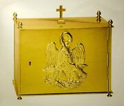 + New Polished Brass Tabernacle + Pelican Symbol On Door + 14 W. + Chalice Co.