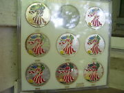 1995-2003 Colorized American Eagle Set In Capital Holder 8 Silver 1oz Coins