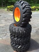 4 New 12-16.5 Galaxy Beefy Baby Iii Tires And Rims For Case-12x16.5 - Heavy Duty