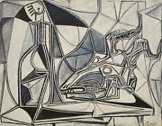 Pablo Picasso Goatand039s Skull Bottle And Candle 1952 Abstract Print Poster 28x23