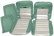 Mustang Deluxe Pony Seat Trim Kit Turquoise And White 65 66 1965 1966 Fastback Gt