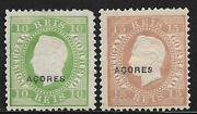 Acores Stamps 1882 Yv 38a+39a P.12 1/2 Mlh Vf