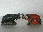 Old Lot Of 2 Heavy Lead Casted Elephant Figure Toy