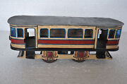 Vintage Wind Up Handpainted Rail Bus / Cable Car Tin Toy , Collectible