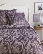 2100 New Frette Have Fun King Coverlet + 3 Euro Shams Violet Gold Grey Quilt