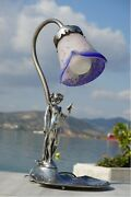 Ar-bre Art Nouveau Pewter Lamp With Blown Glass Rare Collectible