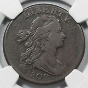 1802 S-231 Ngc Vf25 Draped Bust Stemless Large Cent Coin 1c