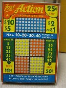 Vintage Punch Board Fast Action .25 Per Hole Gambling Device 6894 Boxpb-15