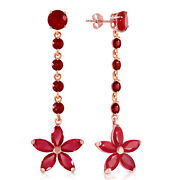 14k Solid Rose Gold Chandelier Earrings With Rubyes