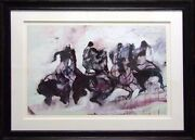 Earl Bissriders Sketch In Purpleandwhite Plate Signed Numbered With Custom Frame