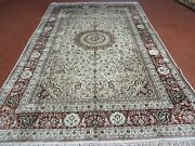 6and039x 9and039 Vintage Hand Made Fine India Kashmiri Silk Rug Hand Knotted Carpet Nice