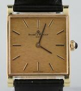 Vintage 18k Yellow Gold Baume And Mercier Hand-winding Watch W/ Black Leather Band