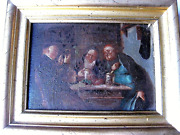 Old Painting Genre Scene Oil On Wooden Panelgermanymid.19c