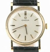 Vintage Omega 14k Yellow Gold Hand-winding Mechanical Watch W/ Leather Strap