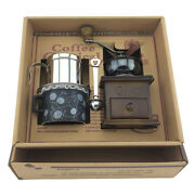 Wooden Manual Bean Coffee Hand Grinder Mill Steel Filter Kettle Ceramic Cup Set