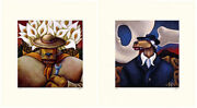 Markus Pierson Art History Coyote Portraits Of O'keefe And Rivera 2 Serigraphs