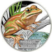 Tuvalu 2017 - 1 Endangered And Extinct Green And Gold Bell Frog 1oz Silver Proof