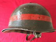 Ww2 Us M1 Helmet- Front Seam Swivel Bales - Named- Painted Red.