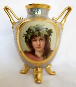 19th Century Dresden Hand Painted Porcelain Two Handle Vase
