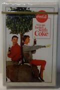 Vintage Coca Cola Things Go Better With Coke Sealed Playing Cards Button Bottle