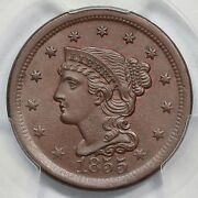 1855 N-1 Pcgs Ms 65+ Bn Upright 55 Cac Braided Hair Large Cent Coin 1c