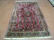 4and039 X 6and039 Antique Hand Made India Oriental Wool Rug Hand Knotted Carpet Red Nice