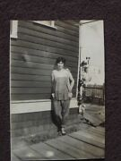 Pretty Young Girl Leaning Against A House Vtg 1920and039s Photo