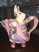 Fitz And Floyd Hand Painted Rare Fine China Whimsical Spring Rabbit Tea Pot