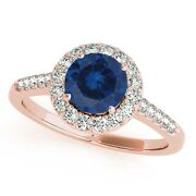 1.20ct Halo Sapphire And Diamond Womenand039s Wedding/engagement Ring -14k Solid Gold