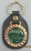 Vintage Green Jeep Willys 5302 Royal Classic Gold Key Ring Black Leather