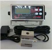 Compression Scale 5000x0.1 Lb S Type Load Cell / Digital Indicator,20' Cable,new
